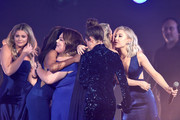 (L-R) Lauren Alaina, Mickey Guyton, Chrissy Metz, Tae Dye of Maddie & Tae, Carrie Underwood, and Maddie Marlow of Maddie & Tae perform onstage during the 54th Academy Of Country Music Awards at MGM Grand Garden Arena on April 07, 2019 in Las Vegas, Nevada.