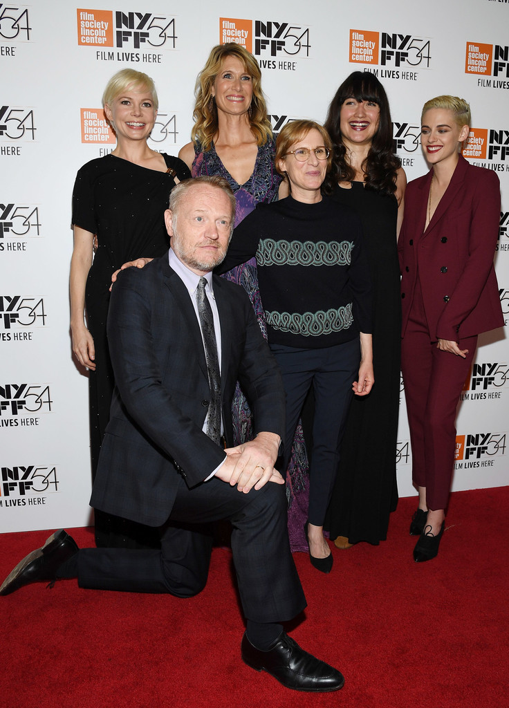 Actors Jared Harris, Michelle Williams, Laura Dern, Lily Gladstone and Kristen Stewart pose with Director Kelly Reichardt (C) at the Certain Women premiere during the 54th New York Film Festival at Alice Tully Hall, Lincoln Center on October 3, 2016 in New York City.(Getty Images) more pics from this album »