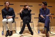 (L-R) Writer and director Serge Bozon, actress Isabelle Huppert, and moderator Nicholas Elliott take part in a discussion about the film Making Mrs. Hyde during the 55th New York Film Festival at the Howard Gilman Theater on October 1, 2017 in New York City.