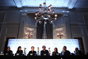(2nd L-R) Producer Allison Abbate, actor Martin Short, filmmaker Tim Burton, actress Catherine O'Hara, producer Don Hahn and actor Martin Landau speak at the 'Frankenweenie 3D' press conference at the Corinthia Hotel London which, later tonight, opens the 56th BFI London Film Festival at Odeon Leicester Square on October 10, 2012 in London, England.