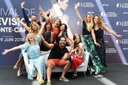 """(3rd row;L-R) Alexandre Brasseur,Ariane Seguillon,Solene Hebert,Lorie Pester, (2nd row; L-R) Ingrid Chauvin, Anne Caillon,Charlotte Valandrey, (1st row; L-R) Maud Baecker, Samy Gharbi and Garance Teillet from the serie """"Demain Nous Appartient"""" attend a photocall during the 58th Monte Carlo TV Festival on June 16, 2018 in Monte-Carlo, Monaco."""
