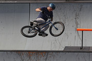 Ben Wallace from Bournemouth, Great Britian, performs during the Park preliminary round of the 6.0 BMX Open at Soldier Field on July 23, 2010 in Chicago, Illinois.