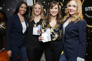 Actors Abby Mueller (2nd from L) and Kara Lindsay (3rd from L) attend the GRAMMY Gift Lounge during the 60th Annual GRAMMY Awards at Madison Square Garden on January 25, 2018 in New York City.