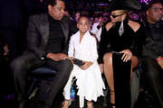 (L-R) Jay-Z, Blue Ivy and Beyonce attend the 60th Annual GRAMMY Awards at Madison Square Garden on January 28, 2018 in New York City.