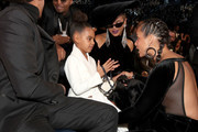 (L-R) Jay-Z, Blue Ivy, Beyonce and Alicia Keys attends the 60th Annual GRAMMY Awards at Madison Square Garden on January 28, 2018 in New York City.