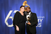 Yebba and PJ Morton pose with their award at the 61st Annual GRAMMY Awards Premiere Ceremony at Microsoft Theater on February 10, 2019 in Los Angeles, California.
