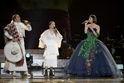 (L-R) Aida Cuevas, Natalia Lafourcade and Ángela Aguilar perform onstage at the premiere ceremony during the 61st annual GRAMMY Awards at Staples Center on February 10, 2019 in Los Angeles, California.