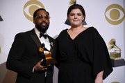 PJ Morton (L) and Yebba, winners of Best Traditional R&B Performance for 'How Deep Is Your Love,' pose in the press room during the 61st Annual GRAMMY Awards at Staples Center on February 10, 2019 in Los Angeles, California.