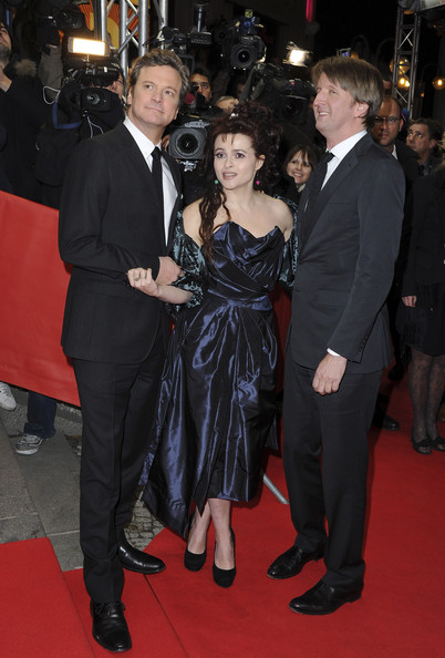 Actors Helena Bonham Carter, Colin Firth,and director Tom Hoope attend the 'The King's Speech' Premiere during day seven of the 61st Berlin International Film Festival at Friedrichstadtpalast on February 16, 2011 in Berlin, Germany.