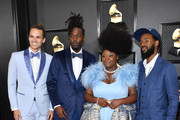 (L-R) Allenbeck Etienne, Joshua Johnson, Tarriona 'Tank' Ball, and Norman Spence of music group Tank and the Bangas attends the 62nd Annual GRAMMY Awards at Staples Center on January 26, 2020 in Los Angeles, California.