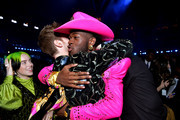 (L-R) Billie Eilish, Finneas O'Connell, and Lil Nas X attend the 62nd Annual GRAMMY Awards at STAPLES Center on January 26, 2020 in Los Angeles, California.