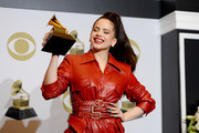 Rosalía, winner of Best Latin Rock, Urban Or Alternative Album, poses in the press room during the 62nd Annual GRAMMY Awards at Staples Center on January 26, 2020 in Los Angeles, California.