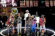 Trombone Shorty (C) performs with Orleans Avenue and Preservation Hall Jazz Band onstage during the 62nd Annual GRAMMY Awards at STAPLES Center on January 26, 2020 in Los Angeles, California.