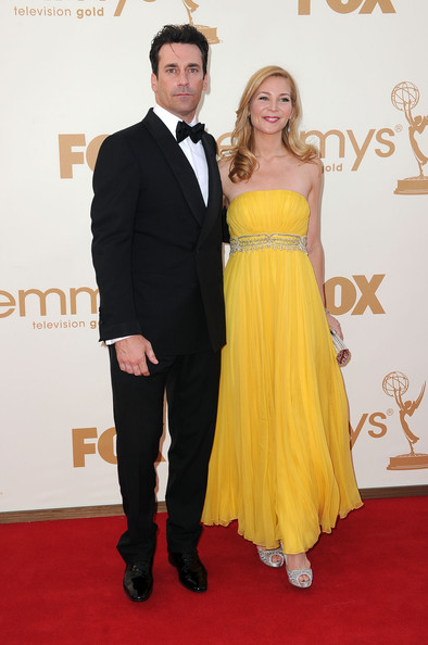 Actor Jon Hamm (L) and actress Jennifer Westfeldt arrive at the 63rd Annual Primetime Emmy Awards held at Nokia Theatre L.A. LIVE on September 18, 2011 in Los Angeles, California.