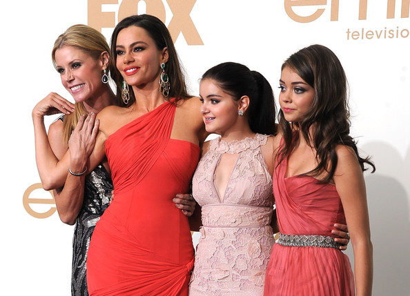 (L-R) Julie Bowen, Sofia Vergara, Ariel Winter and Sarah Hyland of 'Modern Family' pose in the press room after winning Outstanding Comedy Series during the 63rd Annual Primetime Emmy Awards held at Nokia Theatre L.A. LIVE on September 18, 2011 in Los Angeles, California.