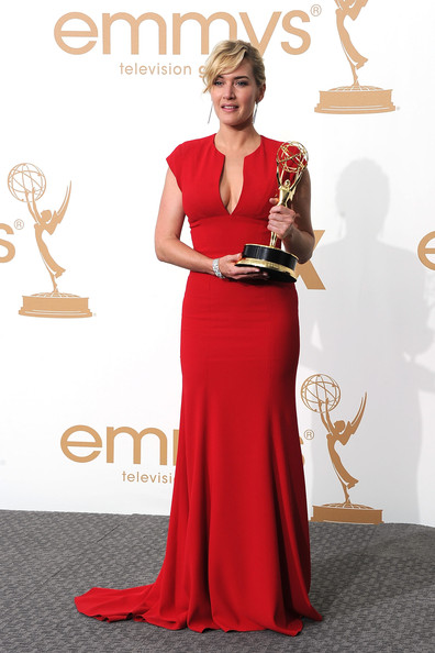 Actress Kate Winslet of 'Mildred Pierce' poses in the press room after winning Outstanding Lead Actress in a Miniseries or Movie during the 63rd Annual Primetime Emmy Awards held at Nokia Theatre L.A. LIVE on September 18, 2011 in Los Angeles, California.