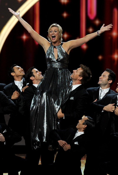 Host Jane Lynch performs onstage during the 63rd Annual Primetime Emmy Awards held at Nokia Theatre L.A. LIVE on September 18, 2011 in Los Angeles, California.