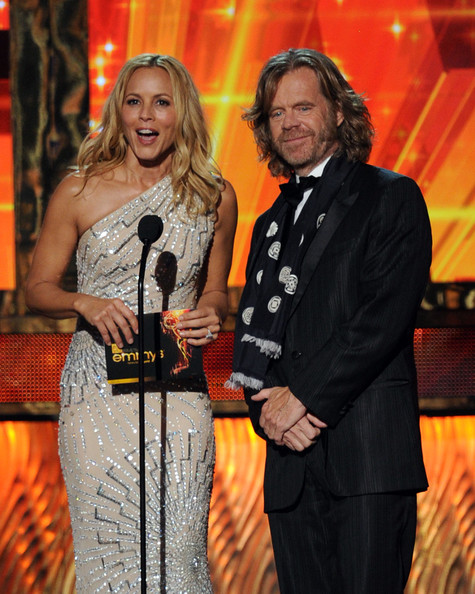 Actors Maria Bello (L) and William H. Macy speak onstage during the 63rd Annual Primetime Emmy Awards held at Nokia Theatre L.A. LIVE on September 18, 2011 in Los Angeles, California.