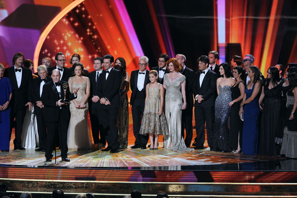 "The cast & crew of ""Mad Men"" accept the Outstanding Drama Series award onstage during the 63rd Annual Primetime Emmy Awards held at Nokia Theatre L.A. LIVE on September 18, 2011 in Los Angeles, California."