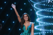 Miss Universe 2014 Paulina Vega waves during the 2015 Miss Universe Pageant at The Axis at Planet Hollywood Resort & Casino on December 20, 2015 in Las Vegas, Nevada.