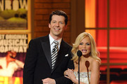 Host Sean Hayes and actress Kristen Chenoweth speak onstage during the 64th Annual Tony Awards at Radio City Music Hall on June 13, 2010 in New York City.