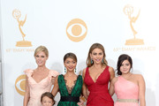 "(L-R) Actresses Julie Bowen, Aubrey Anderson-Emmons, Sarah Hyland, Sofia Vergara and Ariel Winter, winners of Outstanding Comedy Series for ""Modern Family,"" pose in the press room during the 65th Annual Primetime Emmy Awards held at Nokia Theatre L.A. Live on September 22, 2013 in Los Angeles, California."