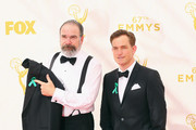 Actors Mandy Patinkin (L) and Maury Sterling attend the 67th Annual Primetime Emmy Awards at Microsoft Theater on September 20, 2015 in Los Angeles, California.
