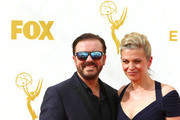 Actor Ricky Gervais (L) and Jane Fallon attend the 67th Annual Primetime Emmy Awards at Microsoft Theater on September 20, 2015 in Los Angeles, California.