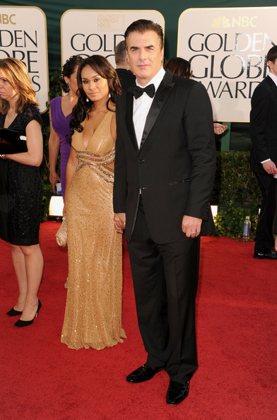 Actors Chris Noth (R) and wife Tara Wilson arrive at the 68th Annual Golden Globe Awards held at The Beverly Hilton hotel on January 16, 2011 in Beverly Hills, California.