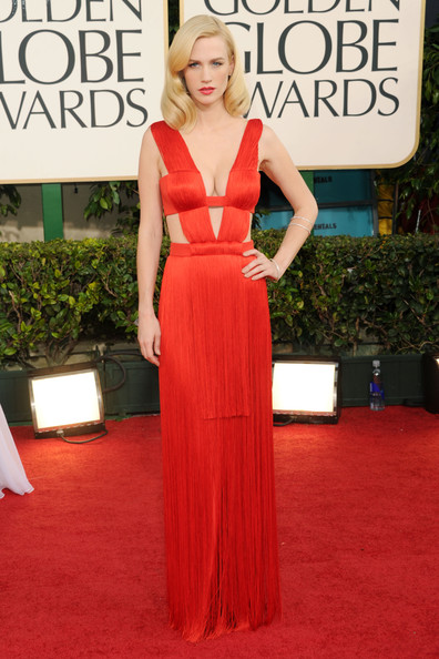 Actress January Jones arrives at the 68th Annual Golden Globe Awards held at The Beverly Hilton hotel on January 16, 2011 in Beverly Hills, California.