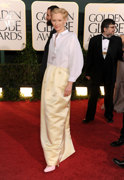 Actress Tilda Swinton arrives at the 68th Annual Golden Globe Awards held at The Beverly Hilton hotel on January 16, 2011 in Beverly Hills, California.