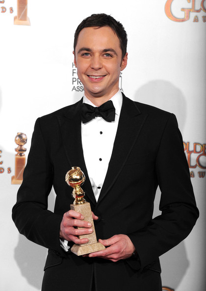 "Actor Jim Parsons poses with his award for Best Actor in a Television Series (Musical or Comedy) for ""The Big Bang Theory"" in the press room at the 68th Annual Golden Globe Awards held at The Beverly Hilton hotel on January 16, 2011 in Beverly Hills, California."