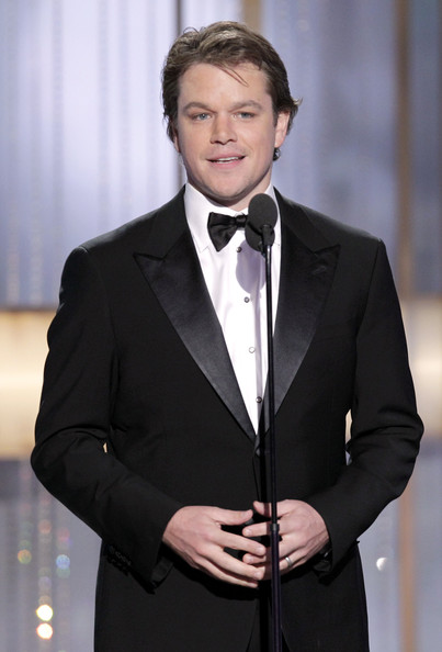 In this handout photo provided by NBC,  Presenter Matt Damon speaks onstage during the Golden Globes at the Beverly Hilton International Ballroom on January 16, 2011 in Beverly Hills, California.