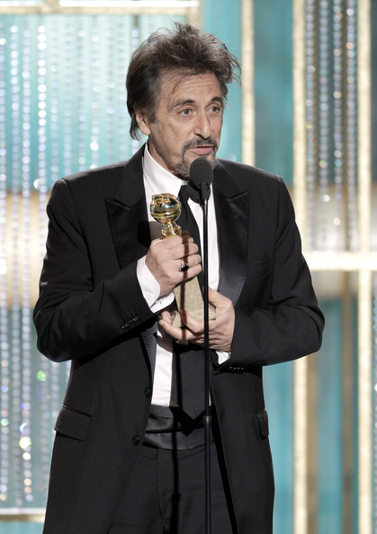 """In this handout photo provided by NBC, Actor Al Pacino accepts the award for Best Actor in a Mini-Series or TV Movie for """"You Don't Know Jack"""" onstage during the Golden Globes at the Beverly Hilton International Ballroom on January 16, 2011 in Beverly Hills, California."""