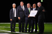 FIFA president Gianni Infantino (r) poses with the United 2026 bid (Canada, Mexico, US) officials: Left-Right Sunil Gulati president of the United States Soccer Federation, CONCACAF President Victor Montagliani, president of the Mexican Football Association Decio de Maria Serrano, president of the United States Football Association Carlos Cordeiro and Steve Reed president of the Canadian Soccer Association (hidden) after the announcement of the host for the 2026 FIFA World Cup went to United 2026 bid during the 68th FIFA Congress at Moscow's Expocentre on June 13, 2018 in Moscow, Russia.