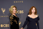 Actors Jessica Lange (L) and Susan Sarandon attend the 69th Annual Primetime Emmy Awards at Microsoft Theater on September 17, 2017 in Los Angeles, California.