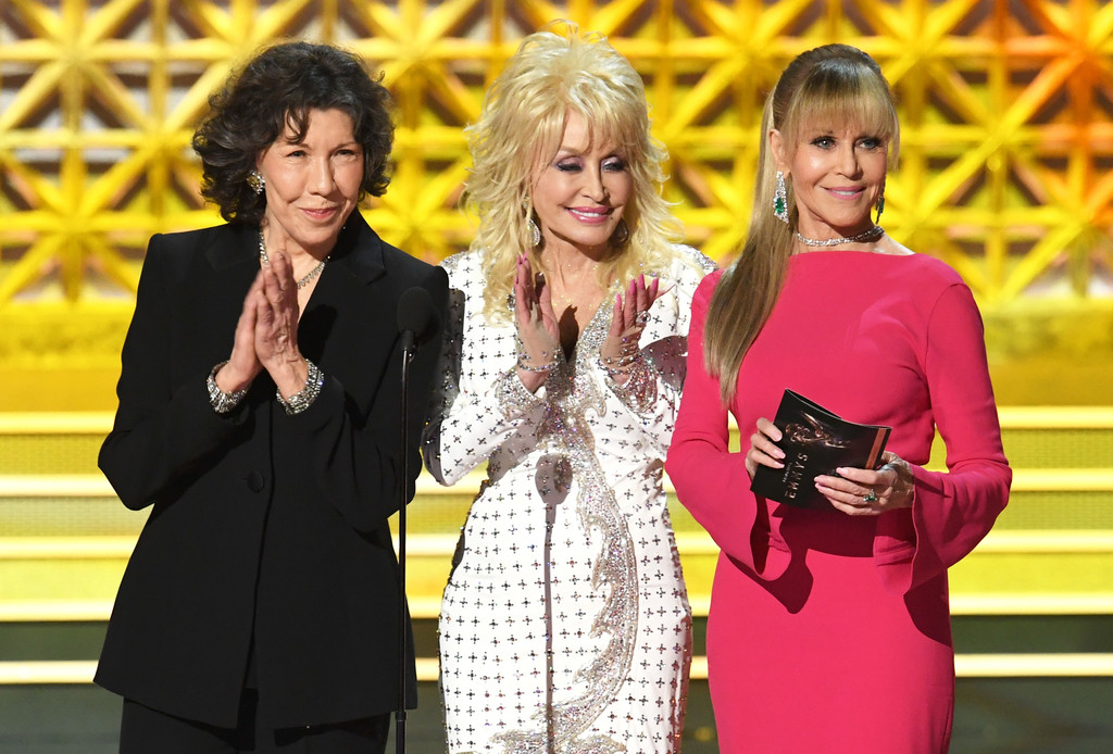 Actress Jane Fonda with co-actors Lily Tomlin, and Dolly Parton during Emmy Awards