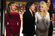 (L-R) Actors Jane Fonda, Lily Tomlin and Dolly Parton speak onstage during the 69th Annual Primetime Emmy Awards at Microsoft Theater on September 17, 2017 in Los Angeles, California.