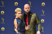 Rachel Reichard (L) and Chris Sullivanattend the 70th Emmy Awards at Microsoft Theater on September 17, 2018 in Los Angeles, California.
