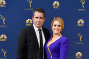 Jason Jones (L) and Samantha Bee attend the 70th Emmy Awards at Microsoft Theater on September 17, 2018 in Los Angeles, California.