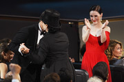 Amy Sherman-Palladino (C) and Rachel Brosnahan react during the 70th Emmy Awards at Microsoft Theater on September 17, 2018 in Los Angeles, California.