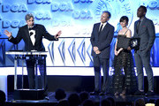 """(L-R) Peter Farrelly accepts the Feature Film Nomination Award for """"Green Book"""" from Viggo Mortensen, Linda Cardellini, and Mahershala Ali during the 71st Annual Directors Guild Of America Awards at The Ray Dolby Ballroom at Hollywood & Highland Center on February 02, 2019 in Hollywood, California."""