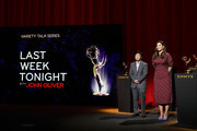 (L-R) Ken Jeong and D'Arcy Carden speak onstage during the 71st Emmy Awards Nominations Announcement at Saban Media Center on July 16, 2019 in North Hollywood, California.