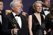 Lorne Michaels (L) and Kate McKinnon pose with awards for Outstanding Variety Sketch Series in the press room during the 71st Emmy Awards at Microsoft Theater on September 22, 2019 in Los Angeles, California.