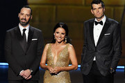 (L-R) Tony Hale, Julia Louis-Dreyfus, and Timothy Simons, walk onstage during the 71st Emmy Awards at Microsoft Theater on September 22, 2019 in Los Angeles, California.