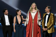 (L-R) Kit Harington, Emilia Clarke, Gwendoline Christie, and Nikolaj Coster-Waldau speak onstage during the 71st Emmy Awards at Microsoft Theater on September 22, 2019 in Los Angeles, California.