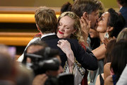 (L-R) Alfie Allen and Gwendoline Christie are seen as they accept the Outstanding Drama Series award for 'Game of Thrones' onstage during the 71st Emmy Awards at Microsoft Theater on September 22, 2019 in Los Angeles, California.
