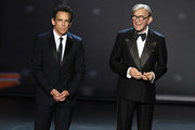 Ben Stiller speaks next to a statue of George Burns onstage during the 71st Emmy Awards at Microsoft Theater on September 22, 2019 in Los Angeles, California.