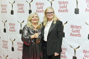 Paula Pell and Amy Poehler pose backstage at the 72nd Writers Guild Awards at Edison Ballroom on February 01, 2020 in New York City.
