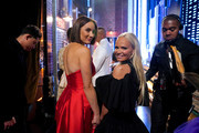 Laura Benanti and Kristin Chenoweth pose backstage during the 73rd Annual Tony Awards at Radio City Music Hall on June 09, 2019 in New York City.